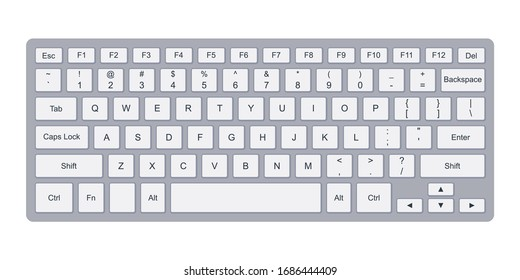 Laptop computer qwerty keyboard with silver key buttons. Simple flat vector illustration isolated on white background