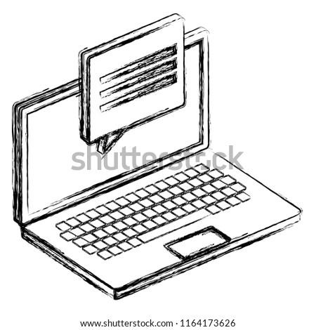 Laptop Computer Speech Bubble Stock Vector Royalty Free 1164173626