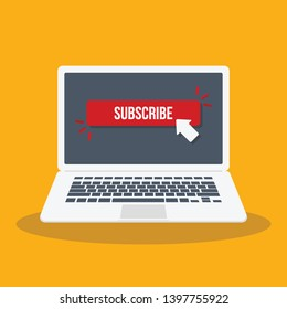 Laptop computer with subscribe button vector flat illustration