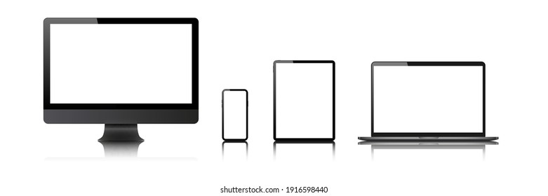laptop, computer, tablet, mobile,  mockup isolated blank screen vector set. white monitor touchscreen gadget technology equipment. phone, smartphone on white  background