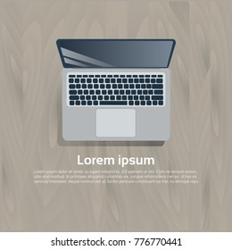 Laptop Computer Top View Icon On Wooden Textured Template Background Flat Vector Illustration