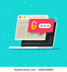 Laptop computer with unlocked password bubble notification, flat cartoon design of pc screen with open lock and password field and website browser window, concept of login or signin icon