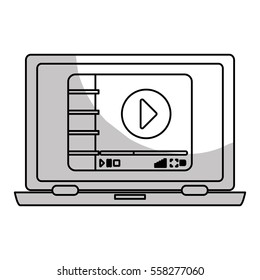 laptop computer with video player button on screen over white background. entertainment and technology design. vector illustration