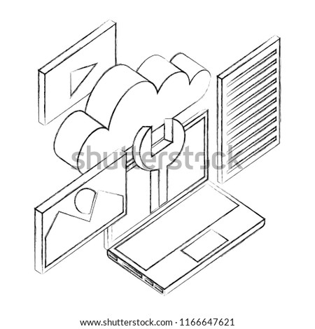 Laptop Computer Wrench Cloud Network Data Stock Vector Royalty Free