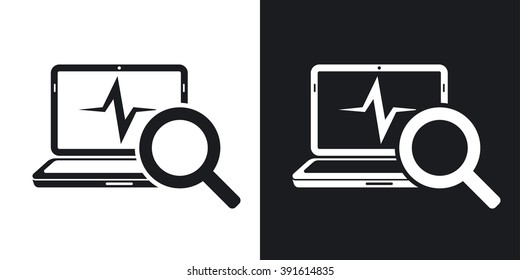 Laptop diagnostics icon, vector. Two-tone version on black and white background