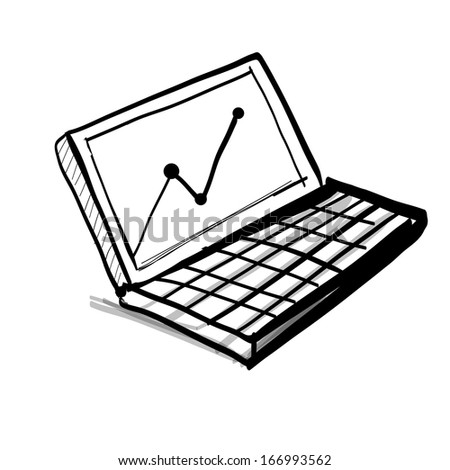laptop diagram chart hand drawing sketch stock vector (royalty free