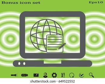 laptop, document, icon, vector illustration eps10