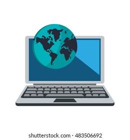 laptop and earth globe  icon