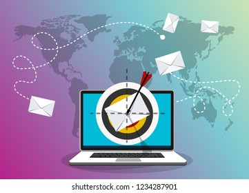 Laptop with email letter and arrow on the target. Email marketing, internet advertising concepts. Vector illustration.