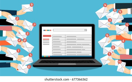 Laptop with email and many hands holding envelopes messages. Email concept. Vector flat design illustration.