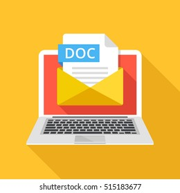 Laptop with envelope and DOC file extension. Notebook, email, file attachment DOC document. Graphic elements for website, web banner, mobile app. Modern long shadow flat design. Vector illustration