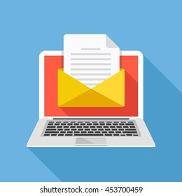 Laptop with envelope and document on screen. E-mail, email marketing, internet advertising concepts. Flat design vector illustration