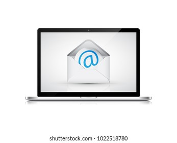 Laptop with envelope and email on screen. Communication concept.
