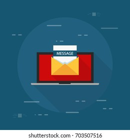 Laptop and envelope with message letter. Email with message header, subject line. College acceptance, admission, employment, recruitment concepts. Modern flat design vector illustration