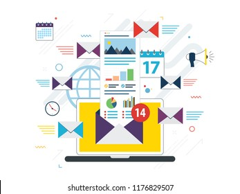 Laptop with envelope and open email on screen. Email marketing, internet advertising concepts. Flat design internet banner or website banner in vector illustration.