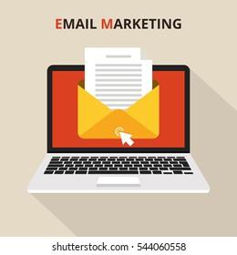 Laptop with envelope and read email on screen. Email marketing, internet advertising concepts. Flat vector illustration.