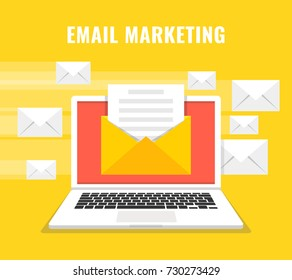 Laptop with envelope and read email on screen. Flying letters on the background. Email marketing, internet advertising concepts. Vector illustration.