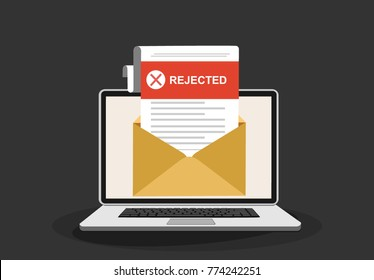 Laptop and envelope with rejected letter. Email with rejected header, subject line.College rejected admission or employment, recruitment concepts. Modern flat design vector illustration