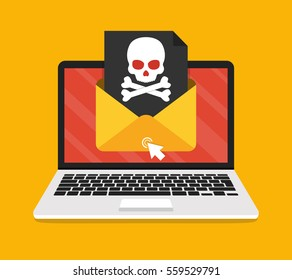 Laptop with envelope and skull on the screen. Concept of virus, piracy, hacking and security. Flat vector illustration.