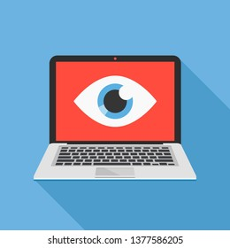 Laptop and eye icon. Internet surveillance, spyware, computer is watching you concepts. Flat design. Vector illustration