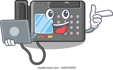 With laptop fax machine isolated in the mascot