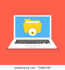 Laptop with file protection on the screen. Data security and privacy concept. Safe confidential information. Vector illustration.