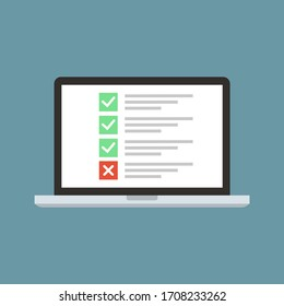 Laptop in flat style with list and checkbox and marks. Desktop computer with checkbox screen. Computer icon isolated on blue background.