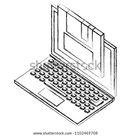 Laptop Floppy Backup Information Isometric Stock Vector Royalty