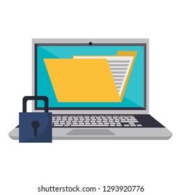 Laptop with folder and padlock
