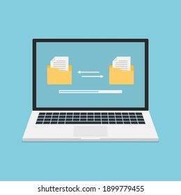 Laptop with folders on screen and transferred documents. Files transfer. Documents management. Copy files, data exchange, backup, uploading process, file sharing or sending documentsr.