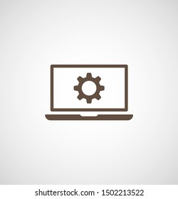 laptop and gear icon. Vector web design