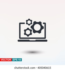 Laptop gears icon, vector