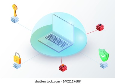 Laptop in glass dome with key, padlock, green shield and virus. Isometric 3d data protection or digital online security concept. Flat vector illustration.