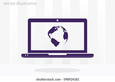 laptop and globe icon vector