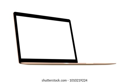 Laptop gold mockup with blank screen - 3/4 left perspective view. Vector illustration