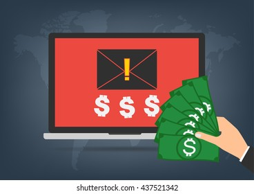 Laptop got blackmail ransom latter request money for paying importance data form businessman with banknote on world map background. Vector illustration technology data privacy and security concept.