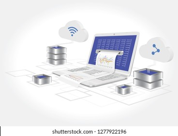 A laptop with a graph and statistics analysis. The concept of entering data analysis. 3d vector illustration.