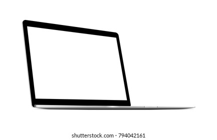 Laptop gray mockup with blank screen - 3/4 left view. Vector illustration