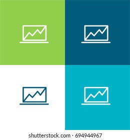 Laptop green and blue material color minimal icon or logo design