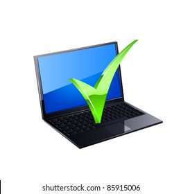 Laptop and green checkmark. Vecto