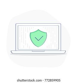 Laptop with green Shield on the screen, concept of Security, Personal Access, User Authorization, Internet and Data Protection, Cybersecurity. Flat outline vector illustration concept in outline style