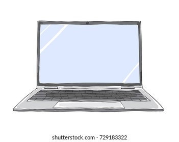 Line Art Laptop : Laptop computer with social network notification new chat