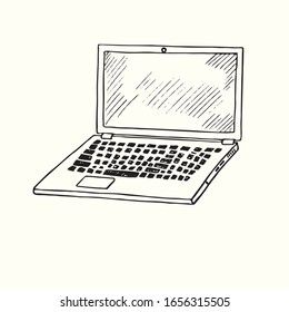 Laptop hand drawn doodle, drawing in gravure style, sketch illustration, design element