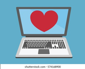 Laptop with heart icon vector.