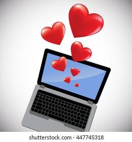 laptop hearts. Vector illustration