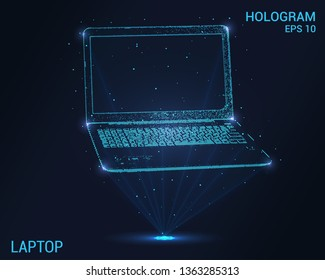 The laptop is a hologram. Holographic projection laptop. Flickering energy flux of particles. The scientific design of the laptop