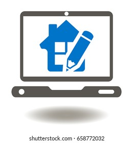Laptop house pencil vector icon. Building Information Modeling (BIM) Business Industrial Real Estate Development Designing Construction Web Computer.