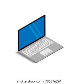 Laptop icon 3D on white background,isometric