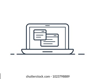 Laptop icon with application window as a technical support symbol. Vector illustration.