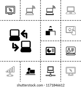 Laptop icon. collection of 13 laptop filled and outline icons such as chart on display, display, man working at the table. editable laptop icons for web and mobile.